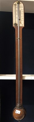 Lot 11-A 19th century mahogany stick barometer by H....