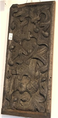 Lot 36-A late19th/early 20th century carved oak panel.