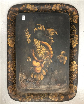 Lot 37-A Victorian tole-peinte tray painted with fruit.