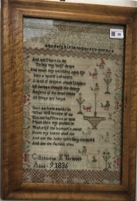 Lot 39-A 19th century needlework sampler, worked by...