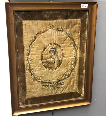 Lot 40-A pair of Regency silk embroidered pictures,...
