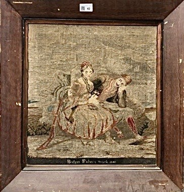 Lot 42-A Victorian woolwork picture depicting a courting ...