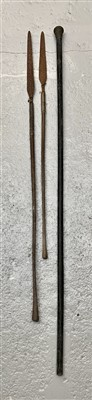Lot 20-An ebonised staff with silver-plated mount,...