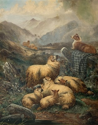 Lot 21-Alfred MORRIS (19th Century) Sheep in a Highland...