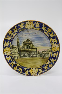 Lot 3-A 19th century Italian Majolica plate, painted...