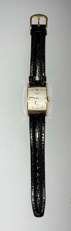 Lot 2563-A Longines gentlemans wristwatch with rectangular ...